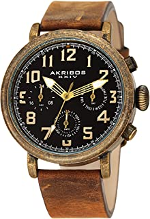 Men's Multifunction Antique Watch - 3 Subdials 24 Hour, Date, Day Large Arabic Numeral - On Comfortable Leather Strap - AK1028