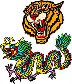 PP Patch Set 2 The Roaring Bengal Striped Tiger Chinese Dragon kung for Martial Arts Triad Patch for Bags Jacket T-Shirt Embroidered Sign Badge Costume DIY Applique Iron on Patch