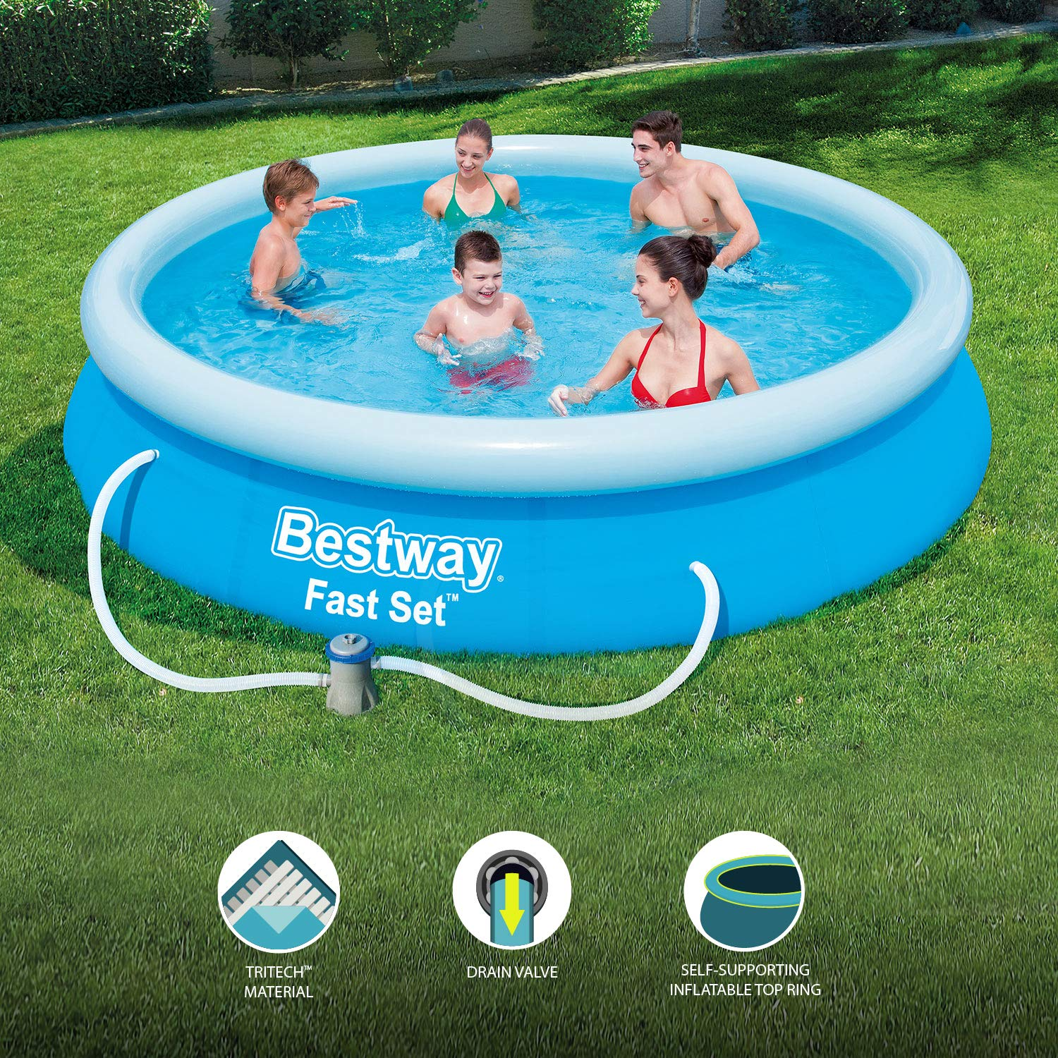 Bestway - Set de pool rápido de 12 pies con filtro y palo de pump Swimming Pool: Amazon.es: Jardín