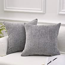 MoMA Decorative Striped Chenille Throw Pillow Covers (Set of 2) - Pillow Cover Sham Cushion Cover - Decorative Sofa Throw Pillow Cover - Square Decorative Pillowcase - Grey - 18 x 18