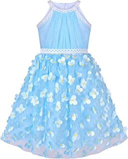 Sunny Fashion Girls Dress Turquoise Butterfly Embroidered Halter Dress Party Size 5-12 Years