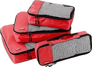 AmazonBasics 4 Piece Packing Travel Organizer Cubes Set, Red