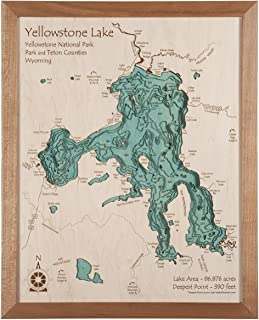 Long Lake Lifestyle Tippy Dam Pond - Manistee County - MI - 3D Map 14 x 18 in (Cherry Frame with Glass) - Laser Carved Wood Nautical Chart and Topographic Depth map.