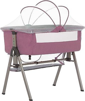 Dream On Me Lotus Bassinet & Bedside Sleeper in Berry Pink
