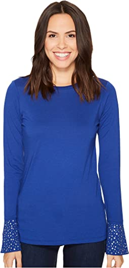MICHAEL Michael Kors Flare Cuff Long Sleeve Stud Top
