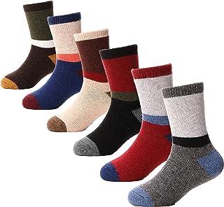 Anlisim, Calcetines de lana para niños, 6 pares, para niños, niñas, cálidos, para invierno, para cabina, gruesos, para nieve - - 1-3 años