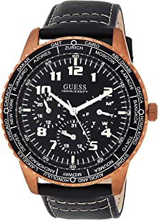 Guess Mens Quartz Watch, Analog Display and Leather Strap W1170G2