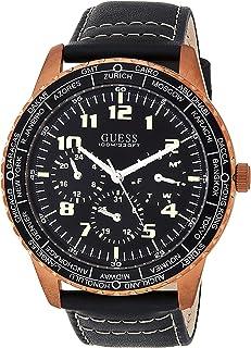 ساعة انالوج كاجوال جلد طبيعي للرجال من جس - W1170G2، اسود