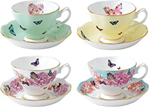 Royal Albert 40002650 Miranda Kerr Teacups and Saucers (Set of 4), Multicolor