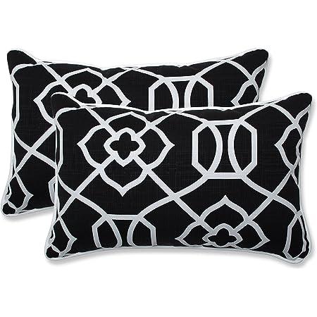 Amazon Com Pillow Perfect Outdoor Indoor Kirkland Lumbar Pillows 11 5 X 18 Black 2 Pack Home Kitchen