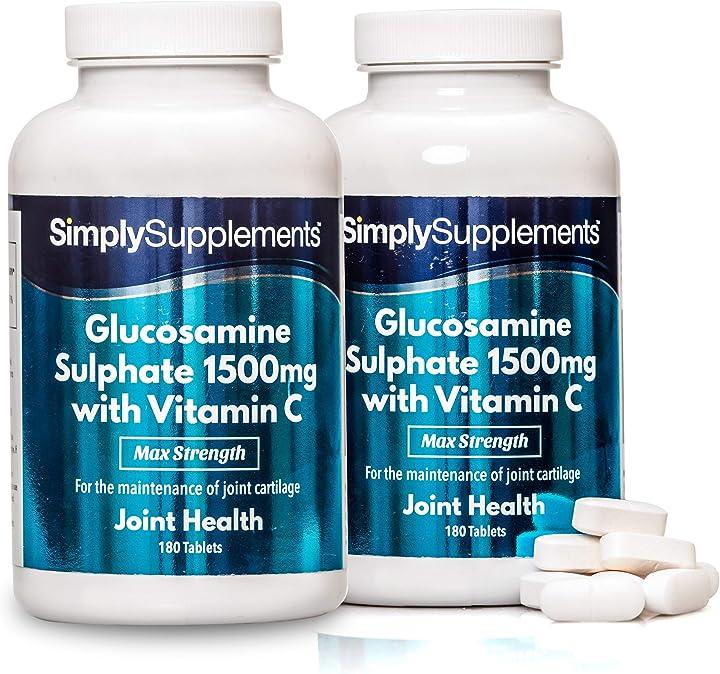 Glucosamina 1500 mg con vitamina c - 360 compresse - 1 anno di trattamento - simplysupplements 5056049513303