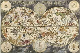 Planisphaerium Coeleste - Vintage Zodiac Astrology Constellation Map Poster Reproduction (24