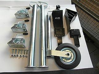 AVB Anhänger Set Stützrad und Stützfüßen 700 mm mit Klemmhaltern und Unterlegkeilen schwarz & Schrauben