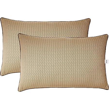 Amazon Brand - Solimo 2-Piece Premium Bed Pillow Set, Microfibre, Brown, 43 X 69 X 17 Cm