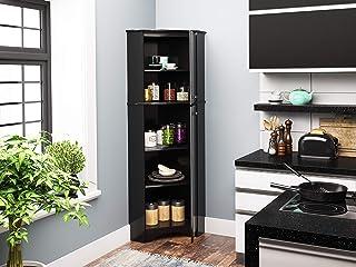 Prepac Elite Corner Storage Cabinet, Tall 2-Door, Black