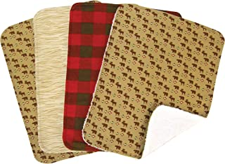 Trend Lab Northwoods Burp Cloth Set, Red/Tan, 4-Count