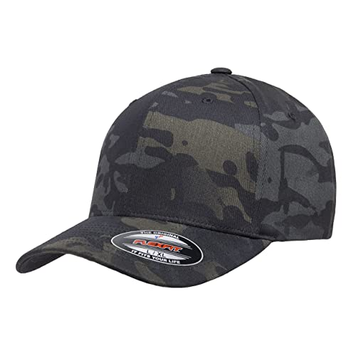 fbe5913eae211 Flexfit Multicam 6 Panel Baseball Cap Officially Licensed Multi-Cam 2  Patterns Black Camo or