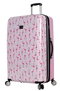 30 Inch Checked Luggage Collection - Expandable Scratch Resistant (ABS + PC) Hardside Suitcase - Designer Lightweight Bag with 8-Rolling Spinner Wheels (Flamingo