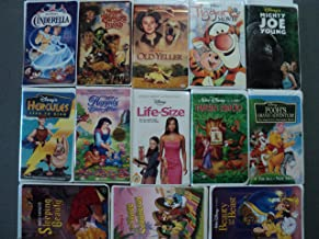 Disney 13 Pack VHS Movies, Walt Disney: Cinderella, Muppet Treasure Island, Old Yeller (Vault Collection), the Tigger Movie, Mighty Joe Young, Hercules-zero to Hero) (Happy Ever After - Non Disney), Life Size, Lindsay & Tyra, Robin Hood (Classic), Pooh's - Grand Adventure, Original Sleeping Beauty, Three Caballeros, Beauty and the Beast (Walt Disney Classic Collection)