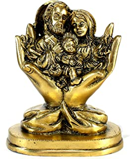 StonKraft Holy Statue Of Jesus Christ, Mother Mary, Saint Joseph In Brass | Holy Family