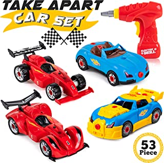 Racing Car Take Apart Toy Set for Kids - STEM Toys Construction Building Kit with 2 Cars and Functioning Drill Tool - Gift for Boys, Girls and Toddlers (53-Piece)