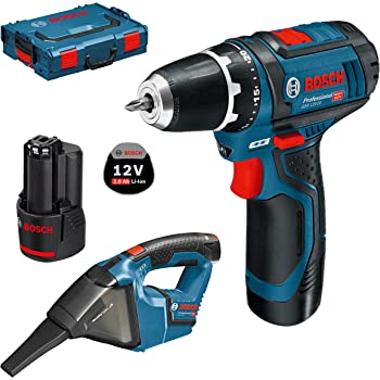 Bosch Professional 12V atornillador a batería GSR 12V-15 + aspirador a batería GAS 12V-LI (2 baterías 2,0 Ah, L-BOXX): Amazon.es: Bricolaje y herramientas