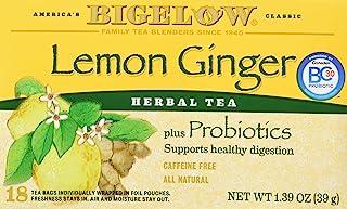 Bigelow Classic Lemon Ginger Herbal Tea Plus Probiotics 18 Bags (3 Pack)