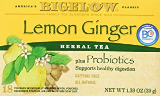 Bigelow Classic Lemon Ginger Herbal Tea Plus Probiotics 18 Bags (3 Pack)