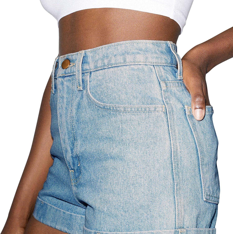 American Apparel Women's Denim High-Waist Cuff Short