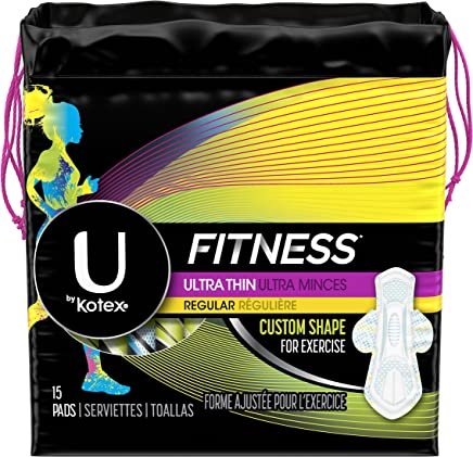 U by Kotex Fitness Ultra Thin Pads with Wings, Regular Absorbency, Fragrance-Free