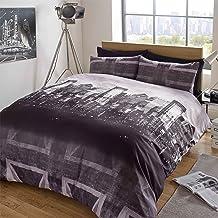 Dreamscene–Gorgeous Skyline impresión funda de edredón juego de cama, Gris, Single