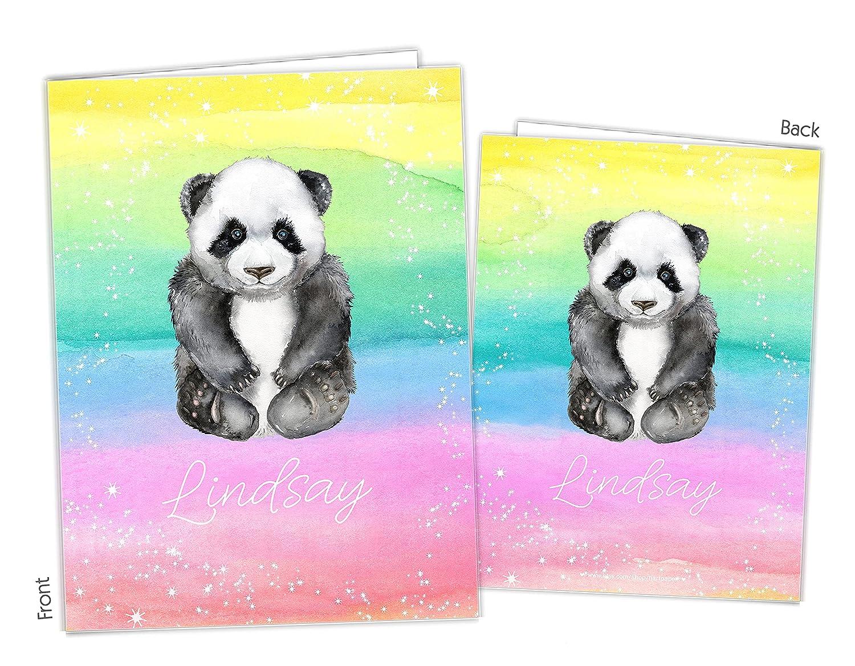 Rainbow Panda Bear Ranking TOP8 2 Pocket Folder Gift to School Supp Back Name 5 ☆ very popular