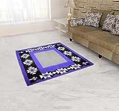 U.P HANDLOOM TEXTILE Wool Rug - 14.04 inches x 7.8 inches, Purple and Black