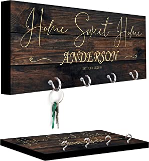 Personalized Key Holder for Wall - Custom Key Hanger with Family Name | 12 Designs, 8 Background Options | House Warming P...