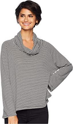 Easy Tiger Striped Sweater Knit Cowl Neck Top