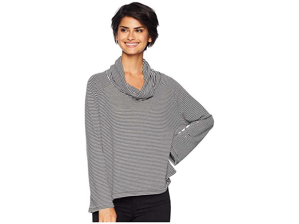 BB Dakota Easy Tiger Striped Sweater Knit Cowl Neck Top (Black) Women
