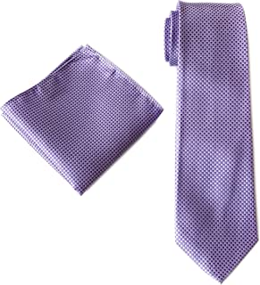 Ctskyte Men's Classic Solid Plaid Tie and Pocket Square Set Formal Party Necktie