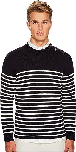 Shoulder Button Stripe Crew Neck Sweater