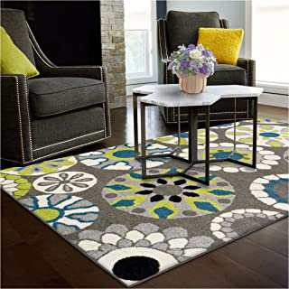 Superior Medallion Collection Area Rug, 6mm Pile Height with Jute Backing, Affordable Contemporary Rugs, Beautiful and Colorful Medallion Pattern - 8' x 10' Rug, Black, Grey, Blue, and Light Green