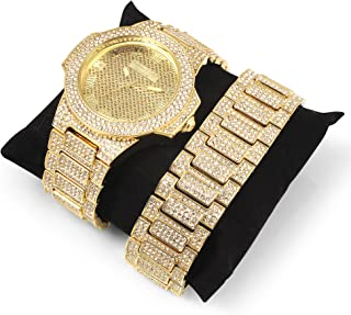 Techno King Men's Iced Out Hip Hop Metal Band Watch and Matching Studded Bracelet Gift Set (GM1809-GD)