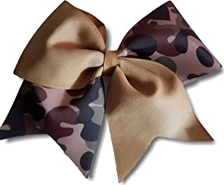 Cheer Bows Camo Camouflage and Khaki Military Support Hair Bow