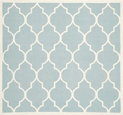Safavieh Dhurries Collection DHU632C Hand Woven Light Blue and Ivory Premium Wool Square Area Rug (6' Square)