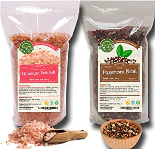 Four Peppercorns Blend -12 oz and Himalayan Pink Salt (Coarse Grain) 2 lbs , Freshly Packed , Whole Black , Pink , Green ,...