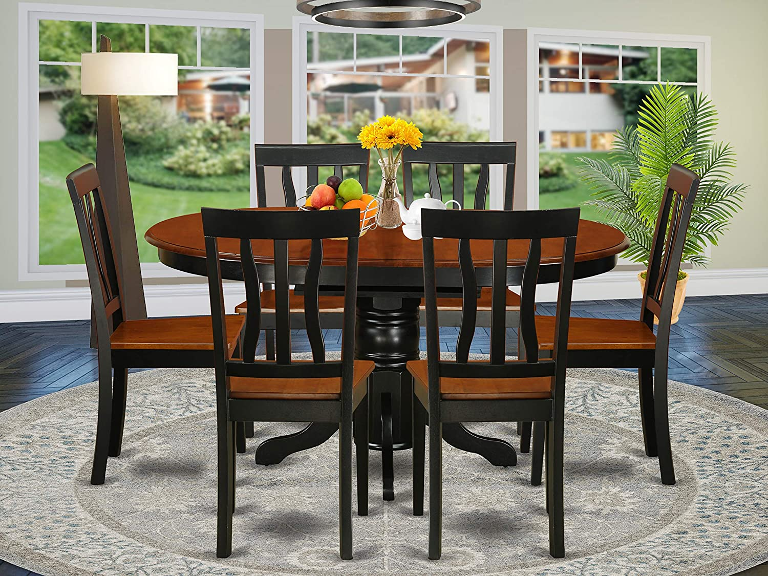 East West Furniture AVAT9 BLK W 9 piece dining table set 9 Great kitchen  chairs   A Beautiful round kitchen table  Wooden Seat and black and cherry  ...