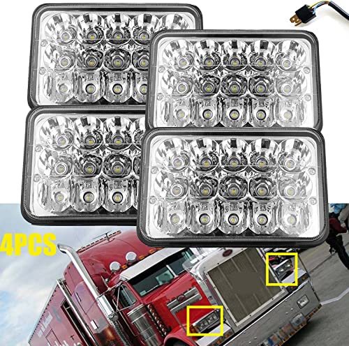 """new arrival For Peterbilt 386 340 365 384 385 357 379 LED Headlights 4X6"""" Inch DRL Sealed Beam Rectangle Truck Headlamp High Low Beam H4651 popular H4652 wholesale H4656 H4666 H6545 H4642 H4668 Replacement - 2 Year Warranty sale"""