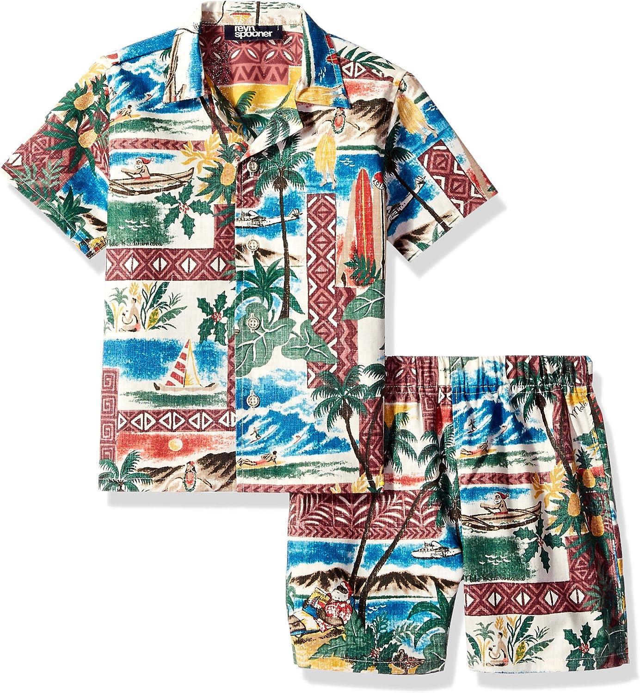 Reyn Spooner boys Hawaiian Christmas Cabana Shirt & Short Set