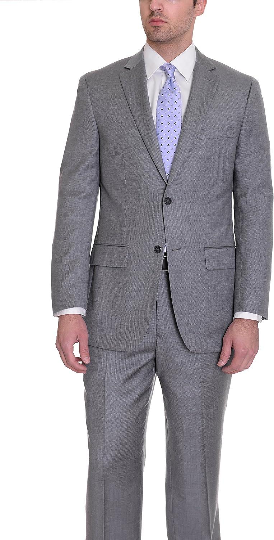 Zanetti Mens Classic Fit Gray Birdseye Two Button Wool Suit