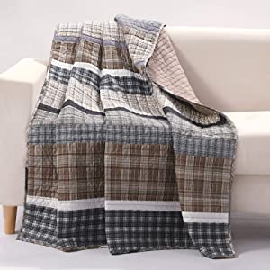 Barefoot Bungalow Gold Rush Quilted Throw Blanket, Gray