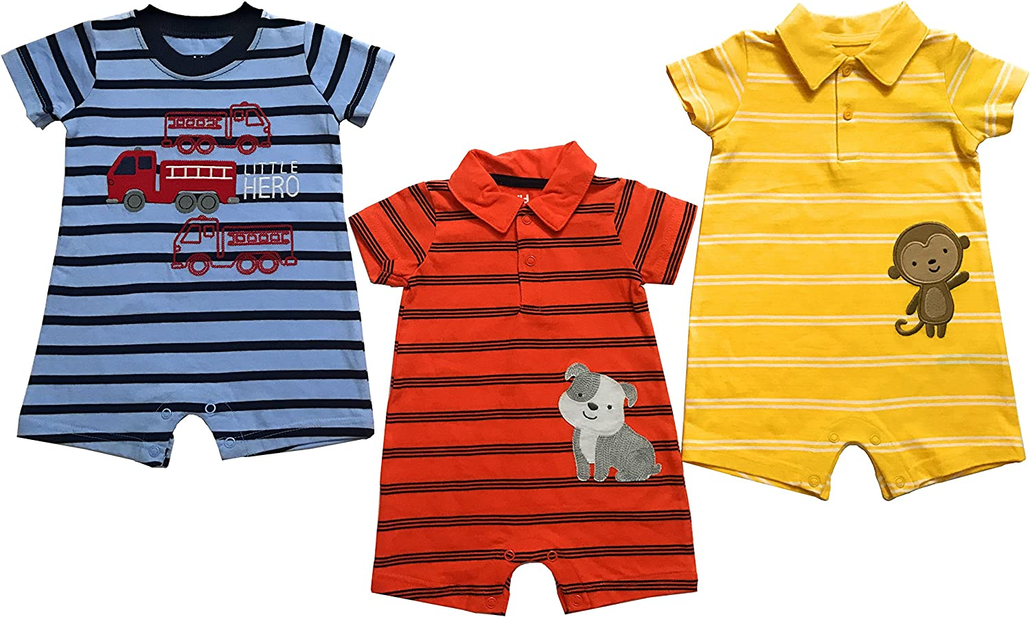 3 Baby Boys' Romper Outfits Blue, Orange, Yellow. Fall Season Outfits 0-3 Months