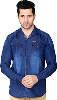 Private Image Meraki by Double Pocket with Spray Silky Denim Shirts for Mens